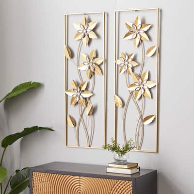 Gold Metal Contemporary Wall Decor (Set of 2) - 12 x 2 x 36
