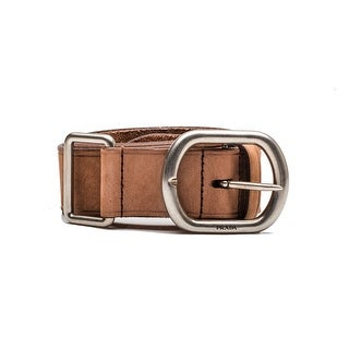 Prada Vintage Women's Double Latch Logo Calf Leather Belt Muave