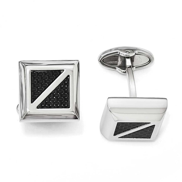 Chisel Stainless Steel Polished with Black Carbon Fiber Square Cuff Links