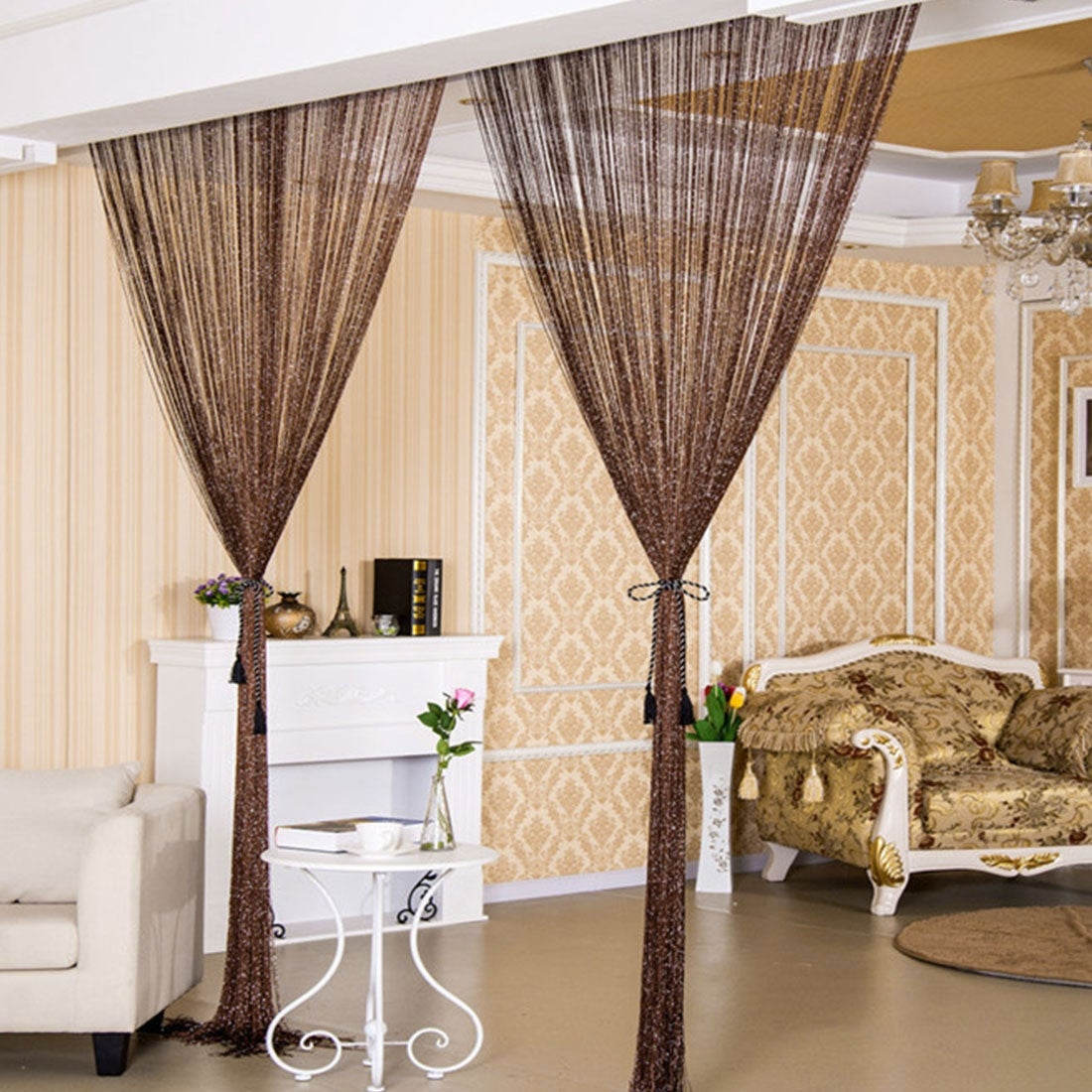 Glitter String Curtain Panel White 1 Pair 100cm x 200cm Easy to Fit