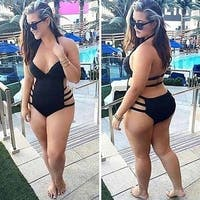 Sexy Pure Black Plus Size Bandage Slim Backless Women Swimsuit Swimwear