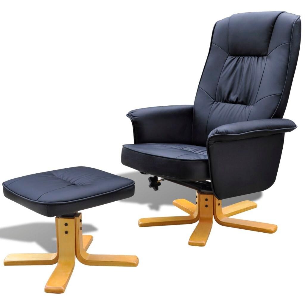Swell Vidaxl Black Tv Armchair Recliner Artificial Leather With Footstool Machost Co Dining Chair Design Ideas Machostcouk