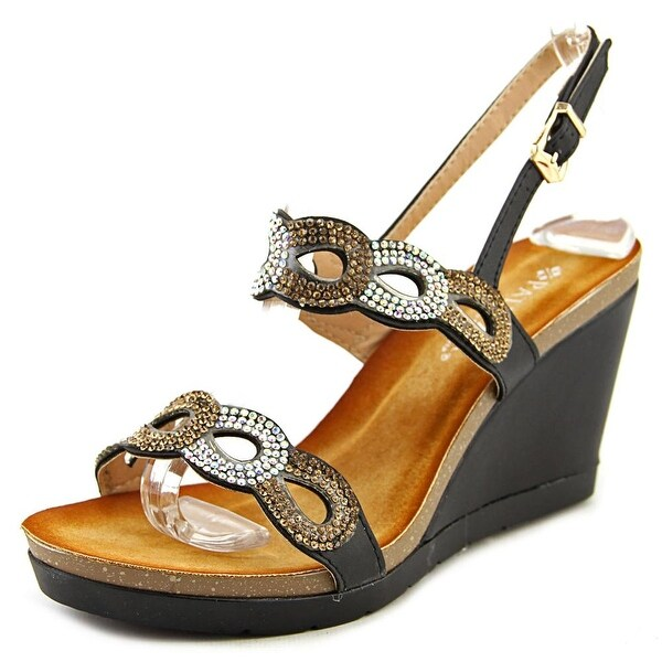 Patrizia By Spring Step Brescia Women Open Toe Synthetic Black Wedge Sandal