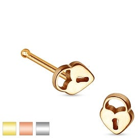 Heart Lock Top 316L Surgical Steel Nose Stud (Sold Individually)