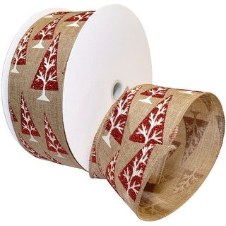 """Linen Trees Wired Ribbon 2.5""""X10yd-Linen W/Red & White Glitter Trees"""