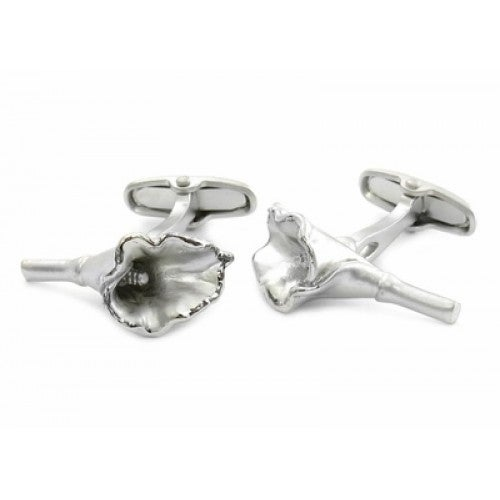 Silver Flower Calla Lily Resemblance Cufflinks