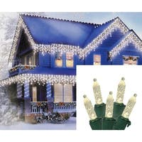 Set of 70 Warm White LED M5 Icicle Christmas Lights – Green Wire