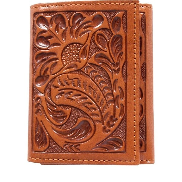 3D Western Wallet Men Leather Trifold Tooled Floral Natural - One size
