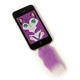 Faux Purple Fox Tail For Iphone Clip in Accessory With Screensaver - multi