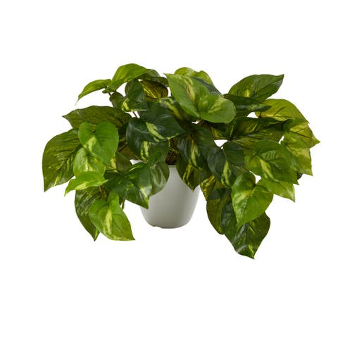 """9"""" Pothos Artificial Plant in White Planter (Real Touch) - 4"""""""
