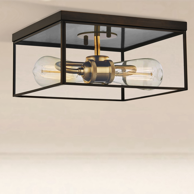2 Light Brass Flush Mount Ceiling Light With Tempered Glass Dark Bronze Overstock 31757892