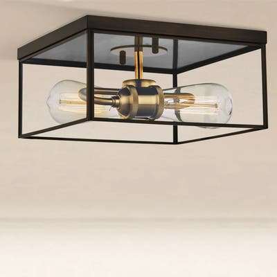 2-Light Brass Flush Mount Ceiling Light with Tempered Glass - Dark Bronze