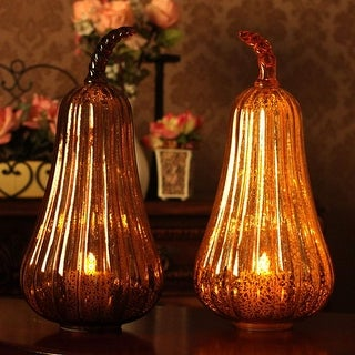 15 Glass Lighted Pumpkins Decoration with Timer for Christmas Decorations Gifts