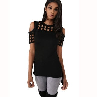 Link to Women Casual O Neck T Shirt Cold Shoulder Similar Items in Tops