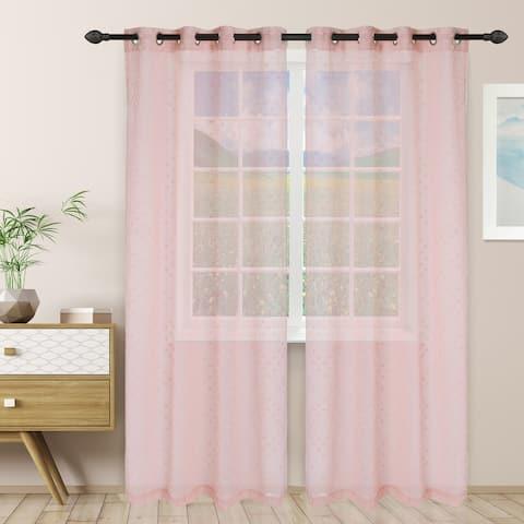 Miranda Haus Austen Sheer Grommet Curtain Panel Pair