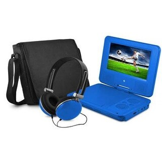 Ematic Epd707bu 7In Swivel Blue Portable Dvd Player W/ Matching Headphones & Bag