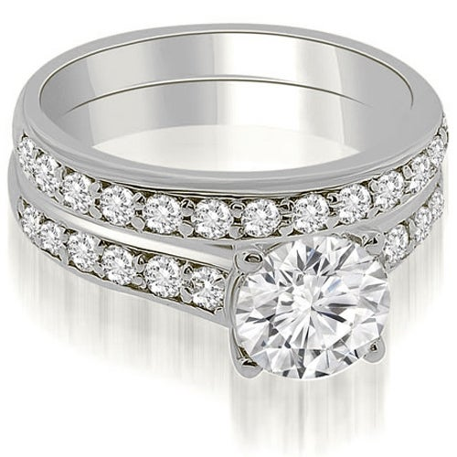 1.35 cttw. 14K White Gold Cathedral Round Cut Diamond Bridal Set