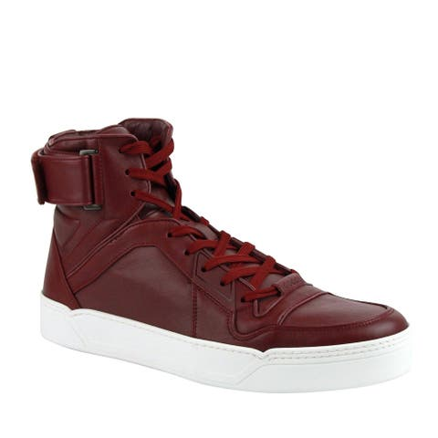 Gucci Men's High Top Strong Dark Red Leather Sneakers with Strap 386738 6148