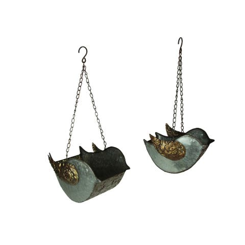 Set of 2 Galvanized Finish Embossed Hanging Metal Bird Planters - 7.5 X 9.75 X 6.25 inches