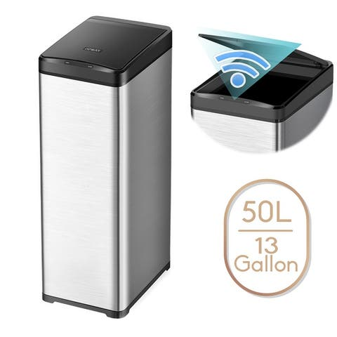 13 Gallon Automatic Trash Can Stainless Steel Touchless Motion Sensor Bin Soft Close Lid, 50L LED Timer, Slim Design