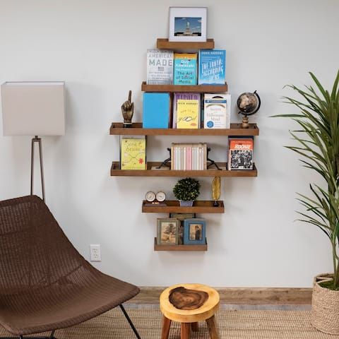 Wallniture Philly Multi-size Floating Shelves for Wall, Wood Tray Bookshelf (Set of 6)