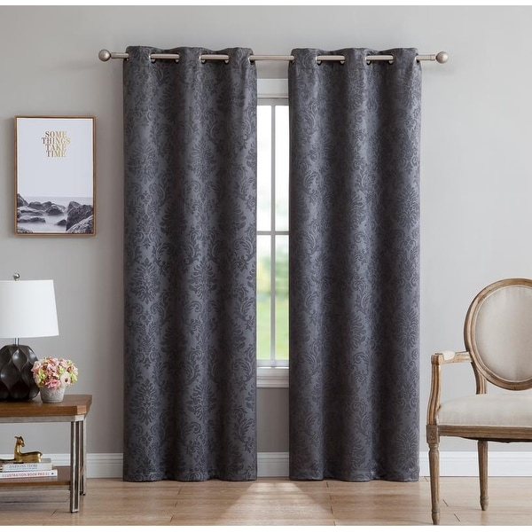 Gracewood Hollow Plakalo Embossed Thermal-weaved Blackout Grommet Drapery Curtains. Opens flyout.
