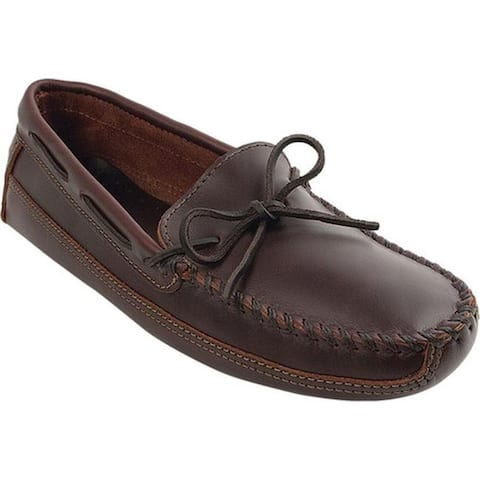 Minnetonka Men's Double Bottom Cowhide Driving Moc Dark Brown Lariat