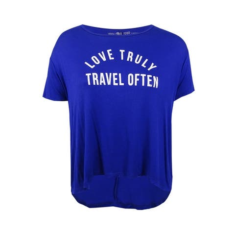 Retro Brand Women's Love Truly Graphic T-Shirt (M, Royal Blue) - Royal Blue - M