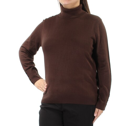 Womens Brown Long Sleeve Turtle Neck Casual Sweater Size XL