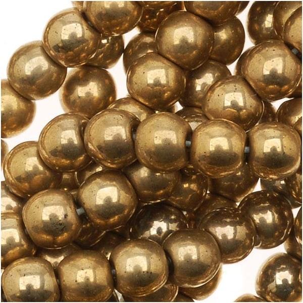 Czech Glass Druk 4mm Round 'Rare Aurum Gold' (100)
