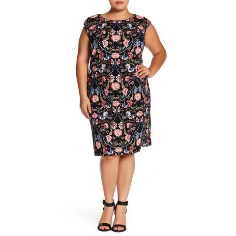 Vince Camuto Blue Womens Size 20W Plus Floral Print Sheath Dress