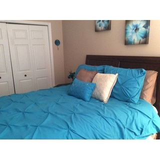 Chic Home Whitley Turquoise Pinch Pleated 4-Piece Duvet Cover Set