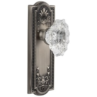 "Grandeur PARBIA_PSG_238  Parthenon Solid Brass Rose Passage Door Knob Set with Biarritz Crystal Knob and 2-3/8"" Backset"