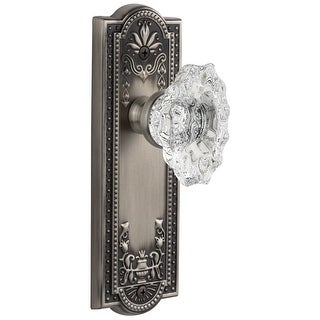 Grandeur PARBIA_SD_NA  Parthenon Solid Brass Rose Single Dummy Door Knob with Biarritz Crystal Knob