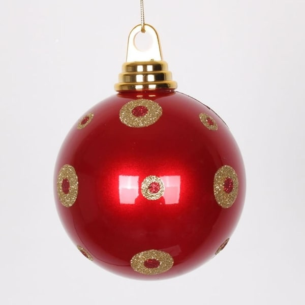 "Candy Apple Red with Gold Glitter Polka Dots Christmas Ball Ornament 4.75"" (120mm)"