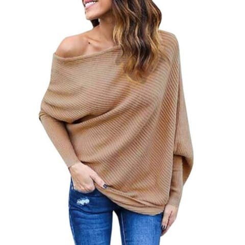 Women's Knitted One Shoulder Loose Pullovers Sweater