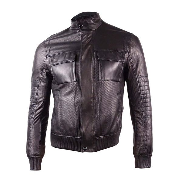 Michael Kors Men's Perforated Leather Bomber Jacket (M, Black) - Black - M
