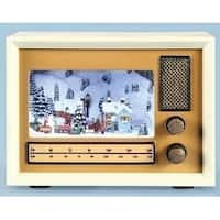"4.5"" Subtle Colored LED Lighted Musical Vintage Radio Christmas Tabletop Decor"