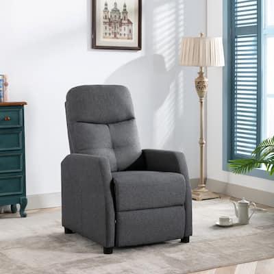 Corvus Graz Linen Push Back Recliner Living Room Accent Chair with Arm