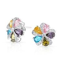 bcf08d8aa Multicolor Teardrop Cubic Zirconia CZ Flower Stud Earrings For Women 925  Sterling Silver