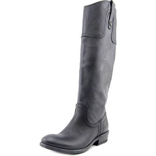 Frye Carson Riding Button Wide Calf Round Toe Leather Knee High Boot