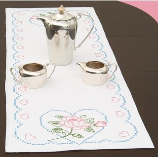 """Stamped Table Runner/Scarf 15""""X42""""-Rose & Hearts"""