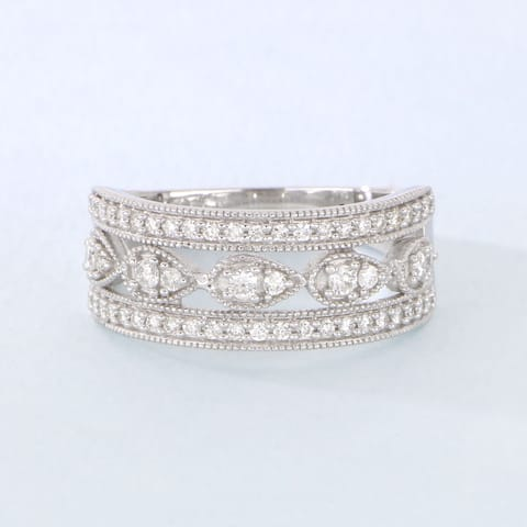 1/2ct TDW Diamond Vintage Style Ring in Sterling Silver