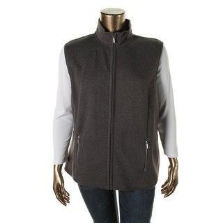 Karen Scott Womens Plus Quilted Funnel Neck Casual Vest