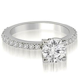 0.86 cttw. 14K White Gold Round Cut Diamond Engagement Ring