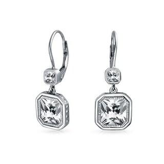 Bling Jewelry Sterling Silver Radiant Cut CZ Leverback Dangle Earrings