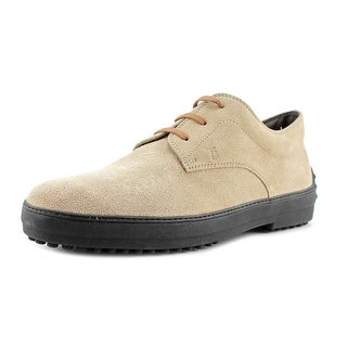 Tod's Derby Rest Double T Uomo Men Plain Toe Suede Ivory Oxford