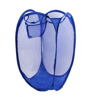 Unique Bargains Home Clothes Storage Bage Folding Meshy Storage Basket Hamper Maya Blue
