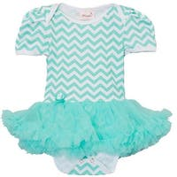 Wenchoice Baby Girls Green Chevron Tutu Short Sleeve Bodysuit