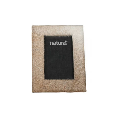 """HomeRoots 7"""" x 9"""" Natural, Cowhide - 4"""" x 6"""" Picture Frame"""